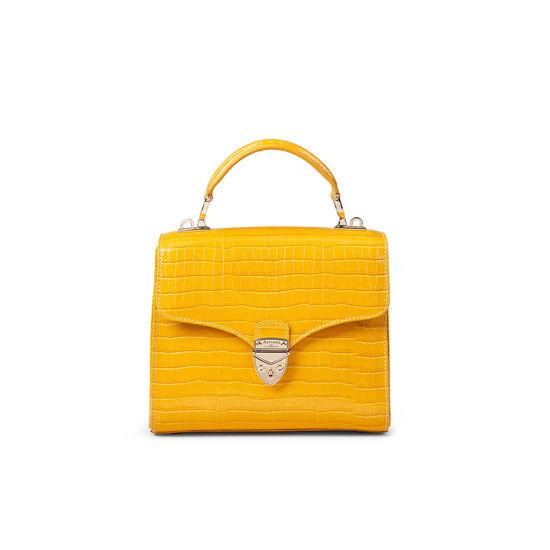 Midi Mayfair Bag in Deep Shine Bright Mustard Small Croc from Aspinal of London