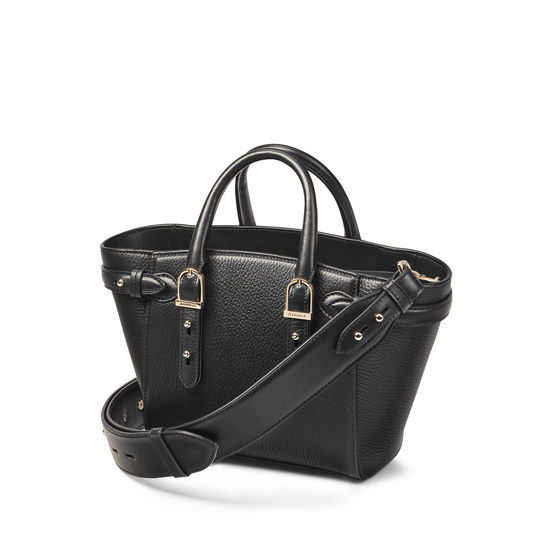 Mini Marylebone Tote in Black Pebble from Aspinal of London