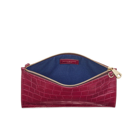 Soho Bag in Deep Shine Bordeaux Croc from Aspinal of London