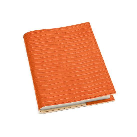A5 Refillable Leather Journal in Deep Shine Marmalade Small Croc from Aspinal of London