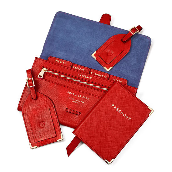 Travel Collection with Removable Inserts in Scarlet Saffiano from Aspinal of London