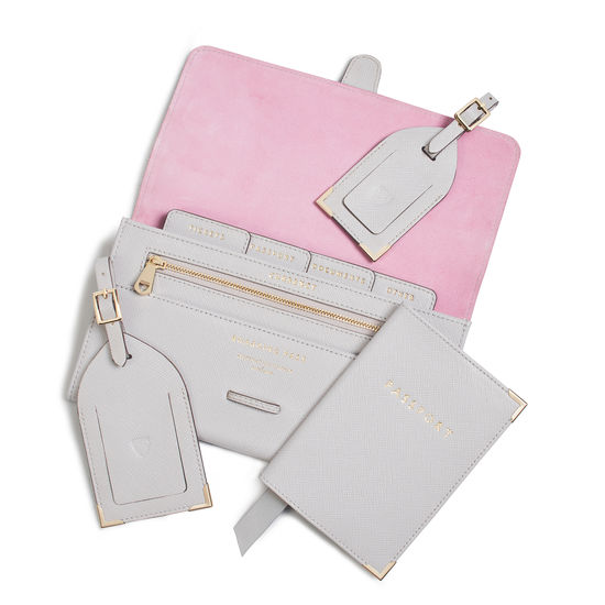 Travel Collection with Removable Inserts in Light Grey Saffiano from Aspinal of London