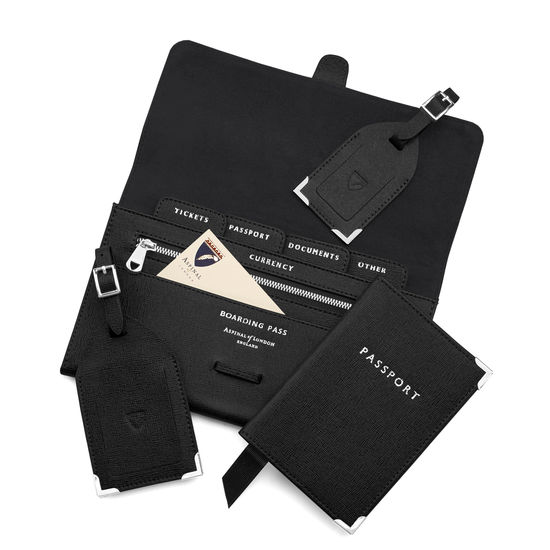 Travel Collection with Removable Inserts in Black Saffiano from Aspinal of London