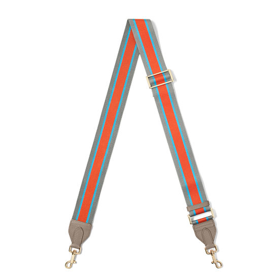 Webbing Bag Strap in Marmalade, Aqua & Silver Stripes from Aspinal of London