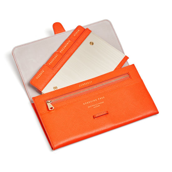 Travel Collection with Removable Inserts in Bright Orange Saffiano from Aspinal of London