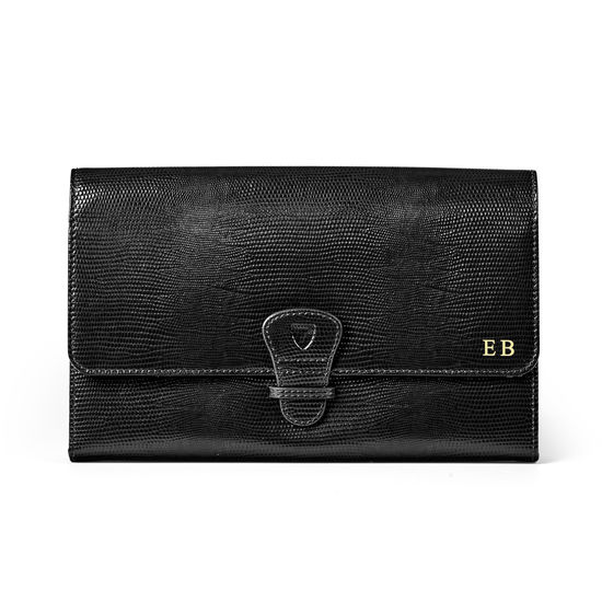 Travel Wallet with Removable Inserts in Black Silk Lizard from Aspinal of London