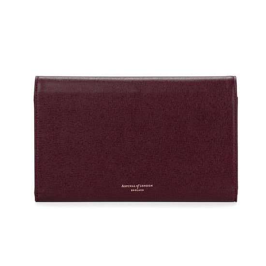 Travel Wallet with Removable Inserts in Burgundy Saffiano from Aspinal of London