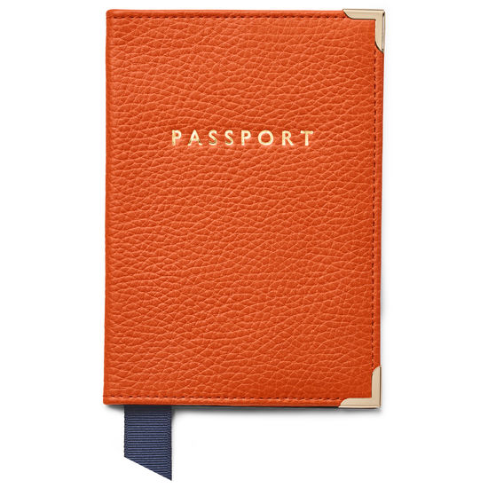 Passport Cover in Marmalade Pebble from Aspinal of London