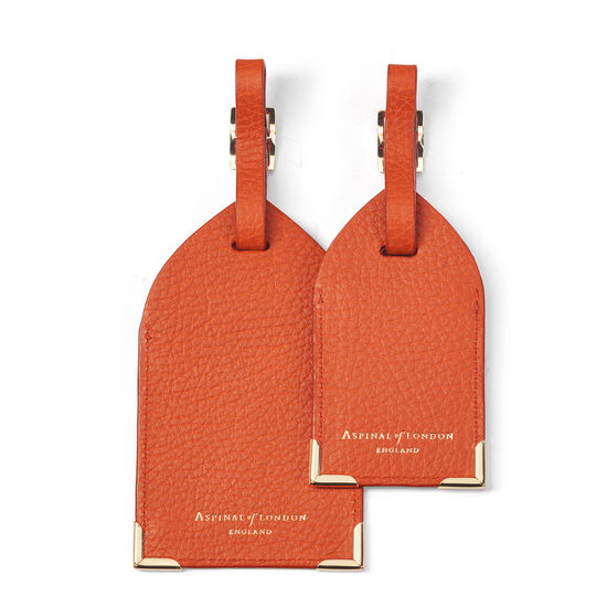 Set of 2 Luggage Tags in Marmalade Pebble from Aspinal of London