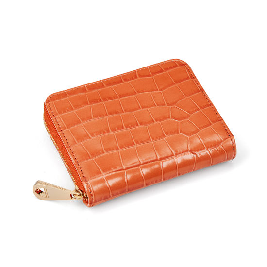 Slim Mini Continental Purse in Deep Shine Marmalade Small Croc from Aspinal of London