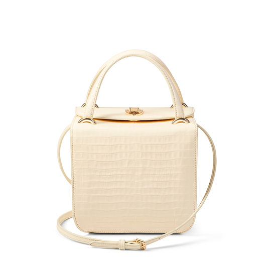Gigi Bag in Deep Shine Ivory Small Croc from Aspinal of London