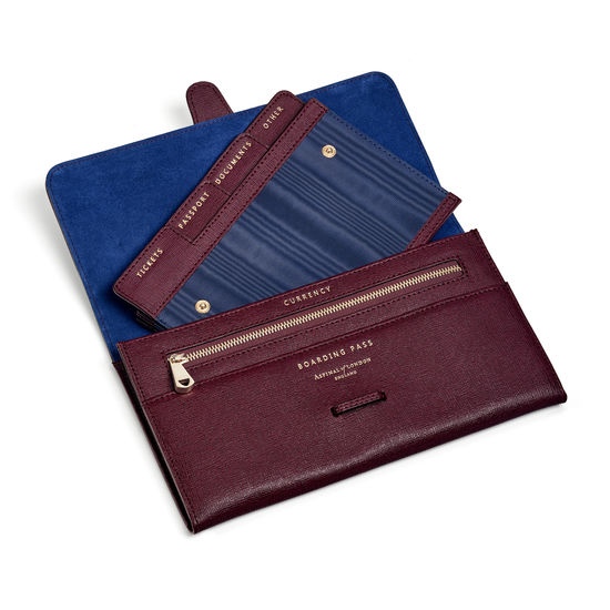 Travel Collection with Removable Inserts in Burgundy Saffiano from Aspinal of London