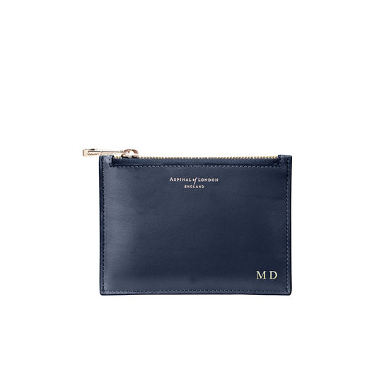 Small Essential Flat Pouch in Smooth Navy from Aspinal of London