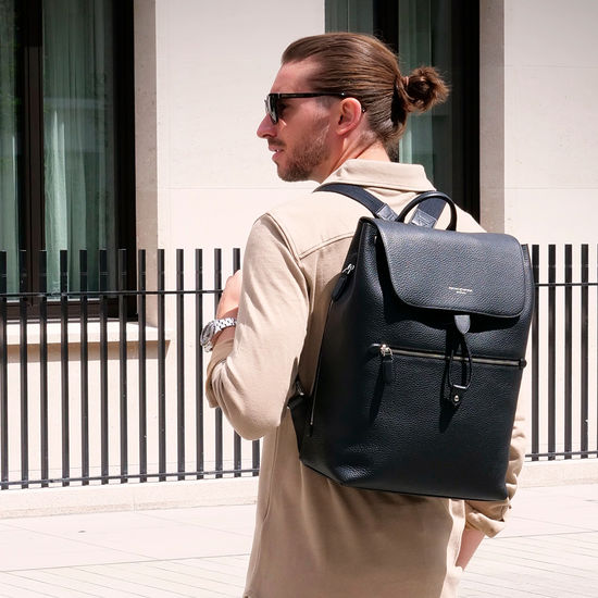 Reporter Backpack in Black Pebble from Aspinal of London