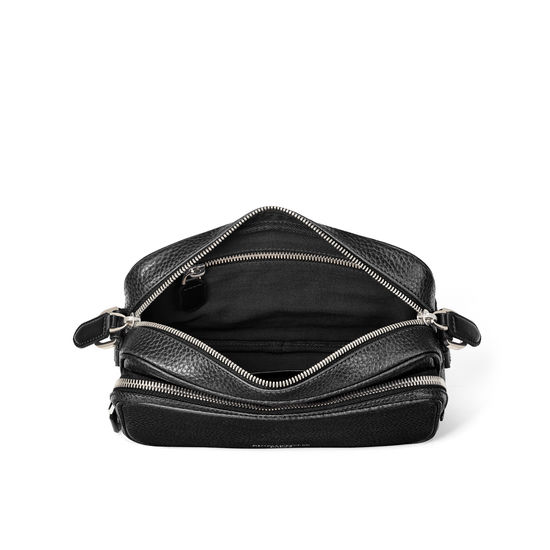 Reporter East West Messenger Bag in Black Pebble from Aspinal of London