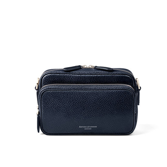 Reporter East West Messenger Bag in Navy Pebble from Aspinal of London