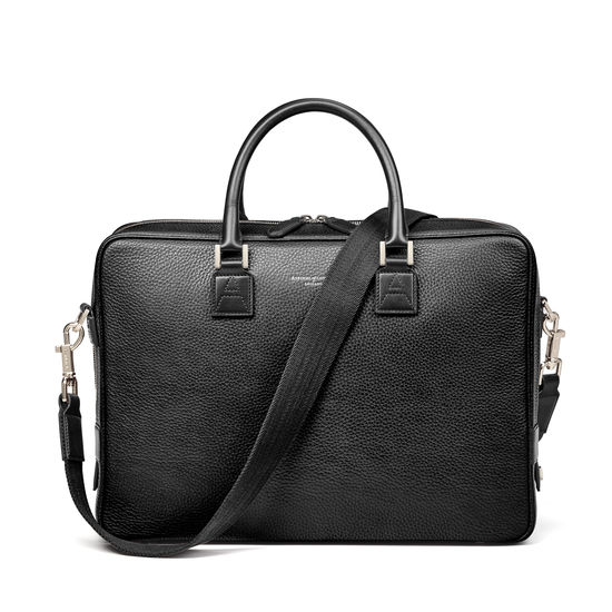 Small Mount Street Laptop Bag in Black Pebble from Aspinal of London