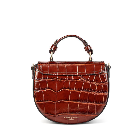 Saddle Bag in Deep Shine Brown Soft Croc from Aspinal of London