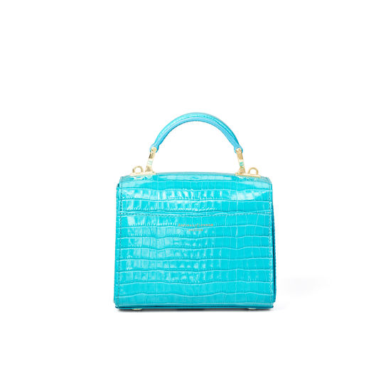 Mini Mayfair Bag in Deep Shine Aqua Small Croc from Aspinal of London