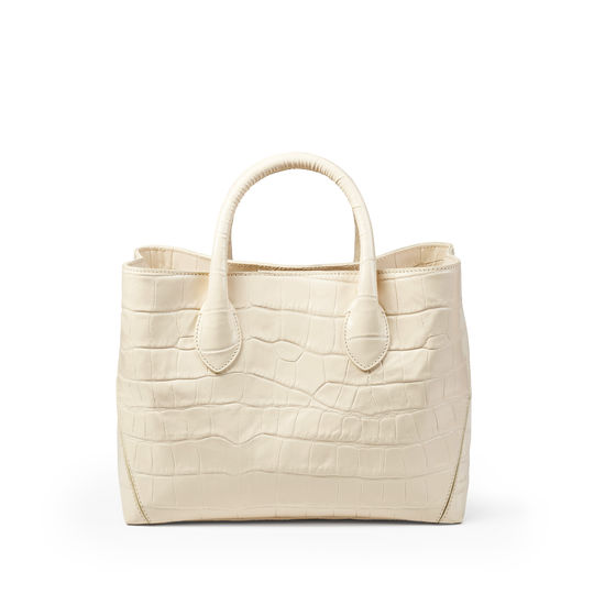 Midi London Tote in Deep Shine Ivory Soft Croc from Aspinal of London