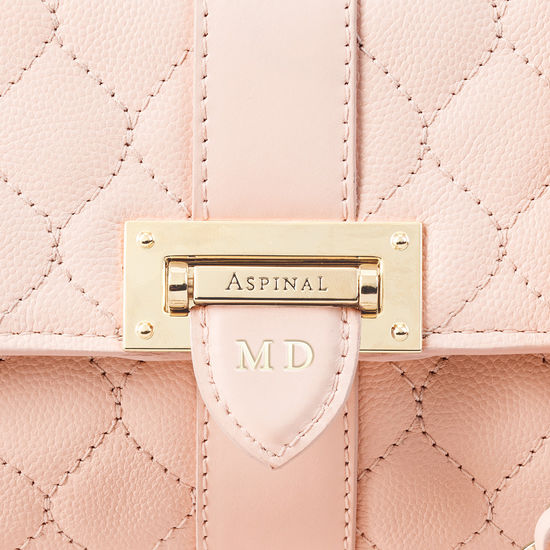 Micro Lottie Bag in Shell Pink Quilted Kaviar from Aspinal of London