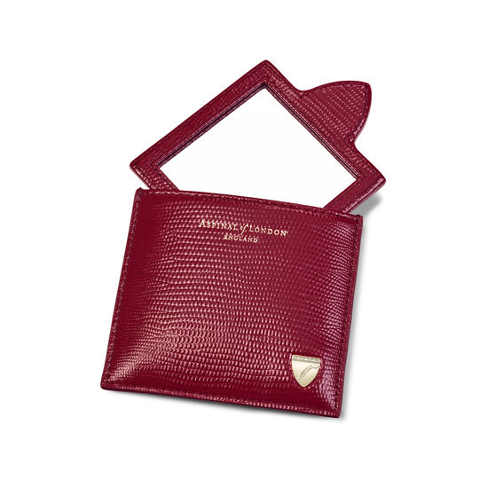 Compact Mirror in Bordeaux Silk Lizard from Aspinal of London