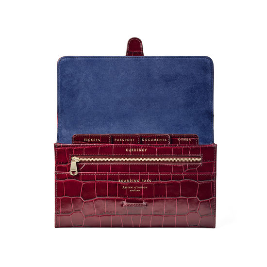 Travel Wallet with Removable Inserts in Deep Shine Bordeaux Croc from Aspinal of London
