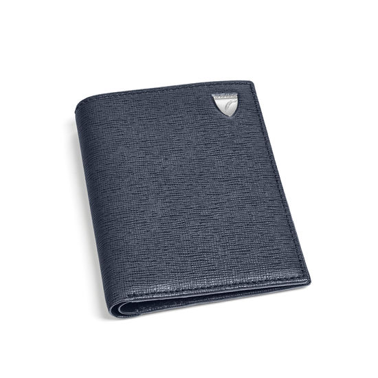 Credit Card Wallet with Notes Pocket in Navy Saffiano from Aspinal of London