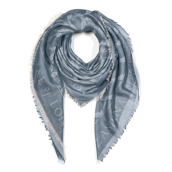 Harlequin Print Jacquard Scarf in Navy Blue from Aspinal of London