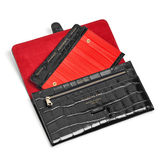 Travel Collection with Removable Inserts in Deep Shine Black Croc from Aspinal of London