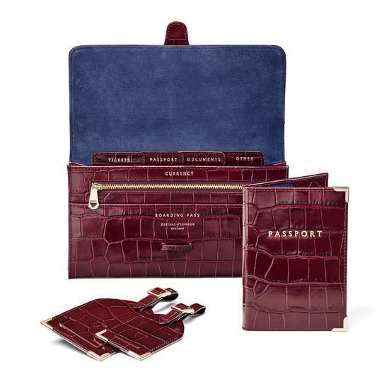 Travel Collection with Removable Inserts in Deep Shine Bordeaux Croc from Aspinal of London