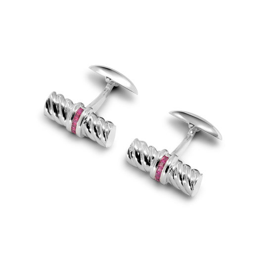 Sterling Silver & Rubies Gemset Double Barrel Twist Cufflinks from Aspinal of London