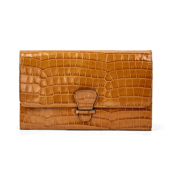 Travel Wallet with Removable Inserts in Deep Shine Vintage Tan Small Croc from Aspinal of London