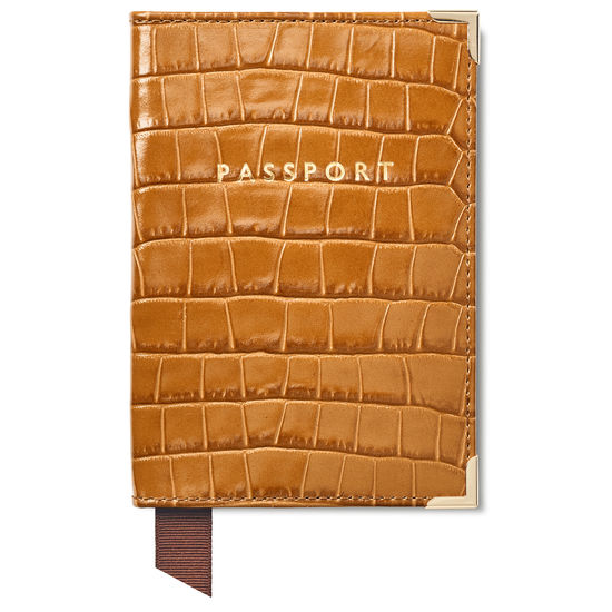 Passport Cover in Deep Shine Vintage Tan Small Croc from Aspinal of London