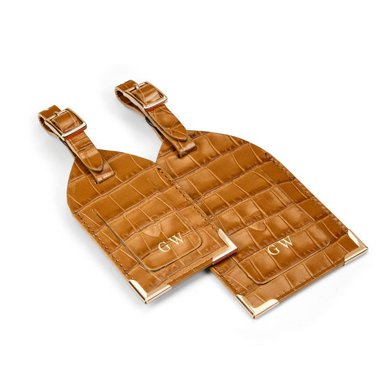 Set of 2 Luggage Tags in Deep Shine Vintage Tan Small Croc from Aspinal of London