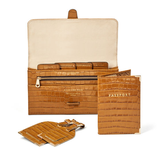 Travel Collection with Removable Inserts in Deep Shine Vintage Tan Small Croc from Aspinal of London