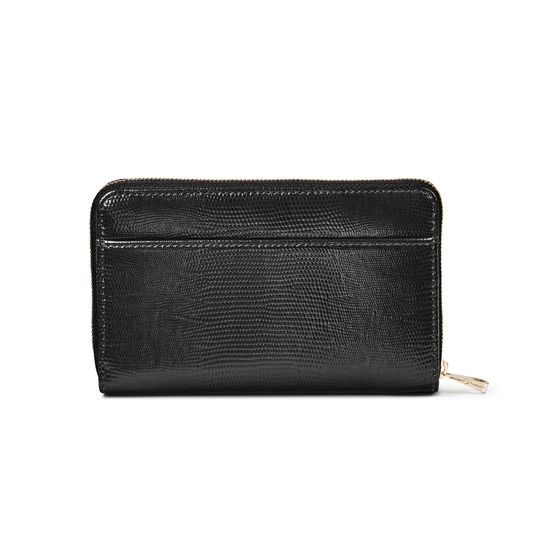 Midi Continental Purse in Black Silk Lizard from Aspinal of London