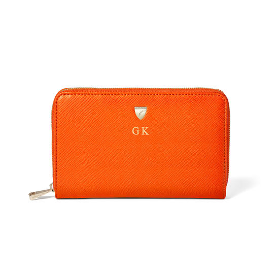 Midi Continental Purse in Bright Orange Saffiano from Aspinal of London