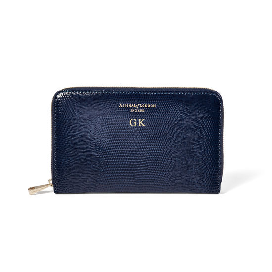 Midi Continental Clutch Zip Wallet in Midnight Blue Silk Lizard from Aspinal of London