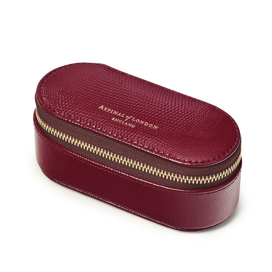 Handbag Tidy All in Bordeaux Silk Lizard from Aspinal of London