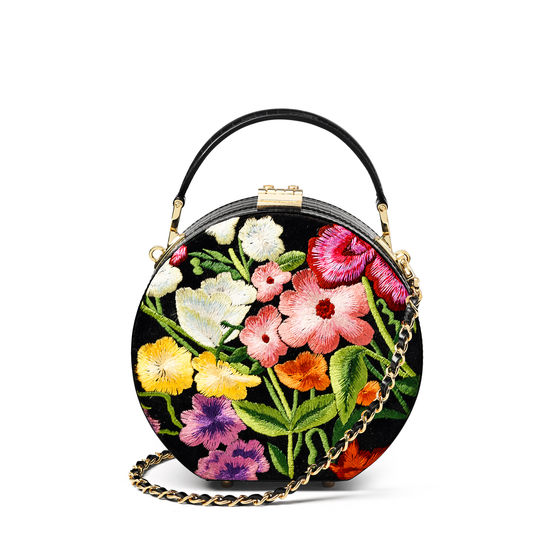 Hat Box in Embroidered Wildflowers & Deep Shine Black Small Croc from Aspinal of London