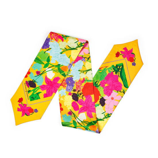 Wildflower Silk Neck Bow Scarf in Mandarin from Aspinal of London