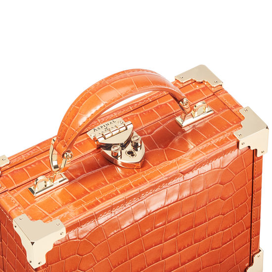 The Trunk in Deep Shine Marmalade Small Croc from Aspinal of London