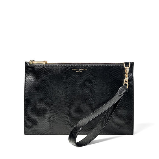 Soho Bag in Black Silk Lizard from Aspinal of London
