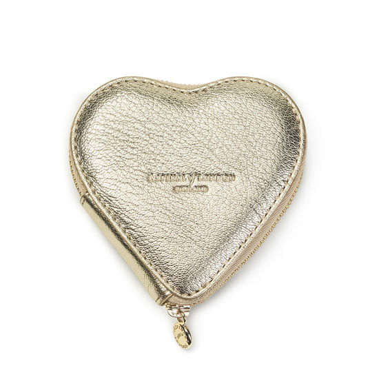 Heart Coin Purse in Pale Gold Pebble from Aspinal of London