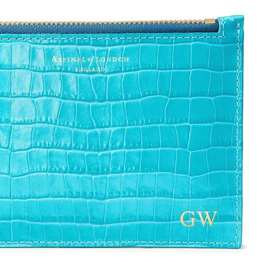 Small Essential Flat Pouch in Deep Shine Aqua Small Croc from Aspinal of London