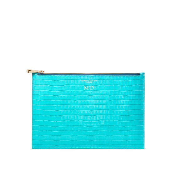 Large Essential Flat Pouch in Deep Shine Aqua Small Croc from Aspinal of London
