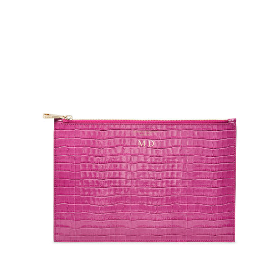 Large Essential Flat Pouch in Deep Shine Hibiscus Small Croc from Aspinal of London