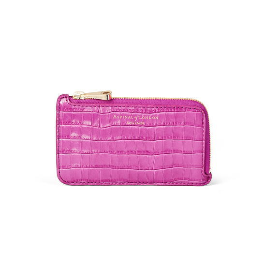 Zipped Coin & Card Holder in Deep Shine Hibiscus Small Croc from Aspinal of London