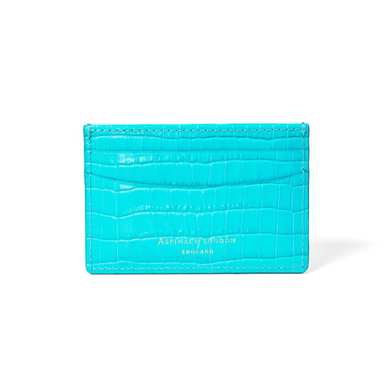 Slim Credit Card Holder in Deep Shine Aqua Small Croc from Aspinal of London